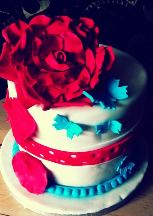 Rose petals and blue butterflies